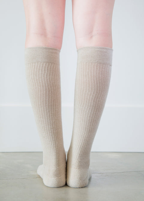 Solid Beige Socks - Women's Medical