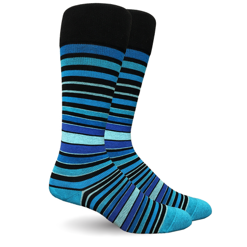 Stripe Cotton Blue Socks - Women's Medical