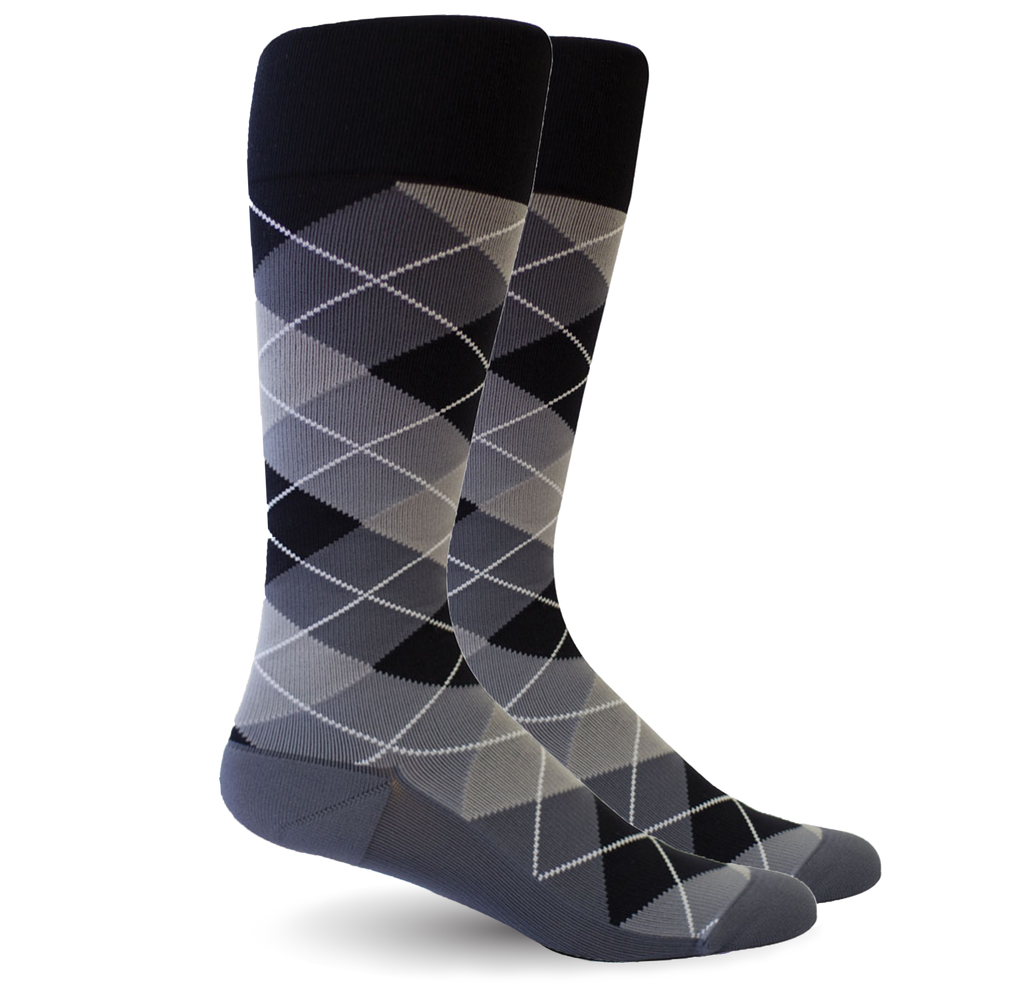 Argyle Synthetic Black/Grey Synthetic Socks - Women's Medical