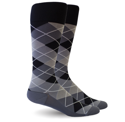 Argyle Black/Grey Socks - Women's Medical