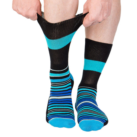 3-Pack Diabetic Socks - Blue Stripe, Black Stripe, Marble Grey