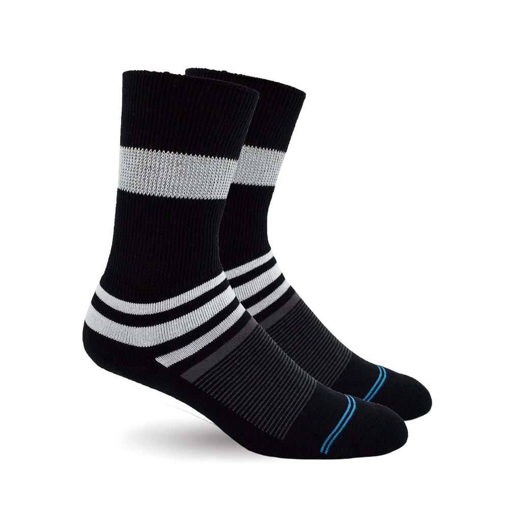 Diabetic Socks for Men, Diabetic Socks For Women, Neuropathy, Non Binding, Seamless - Black Stripe