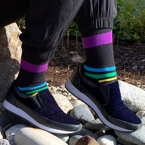 Diabetic Socks for Men, Diabetic Socks For Women, Neuropathy, Non Binding, Seamless - Multi Stripe