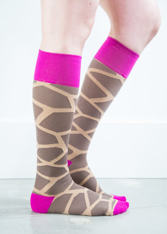Giraffe Pink/Brown - Synthetic Women's Medical  20-30 mmHg