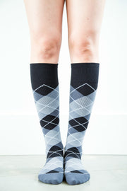 Argyle Black/Grey - Men's Medical - 20-30mmHg