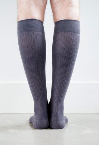 Solid Grey Cotton Socks - Men's Medical