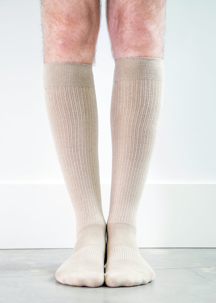 Solid Beige Socks - Men's Medical