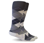 Argyle Synthetic Grey/White Energy Socks