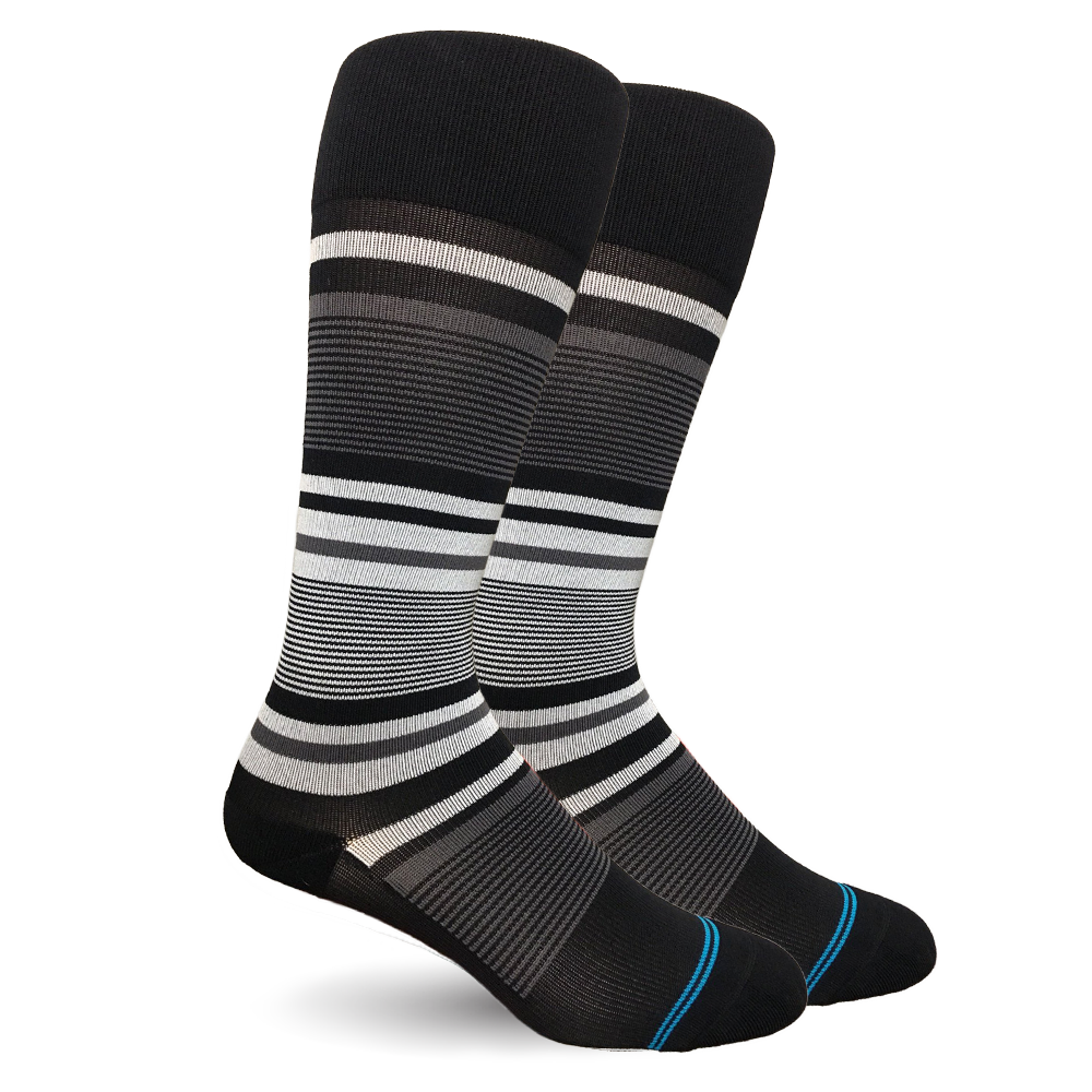 Stripe Cotton Black/Grey Socks - Men's Medical