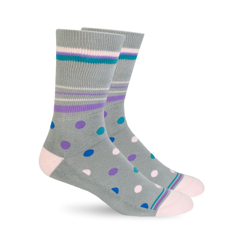 Diabetic Socks - Grey Polka Dot