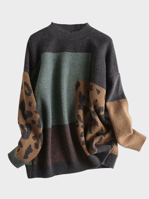 Leopard Print Round Neck Pullover Knitted Sweater