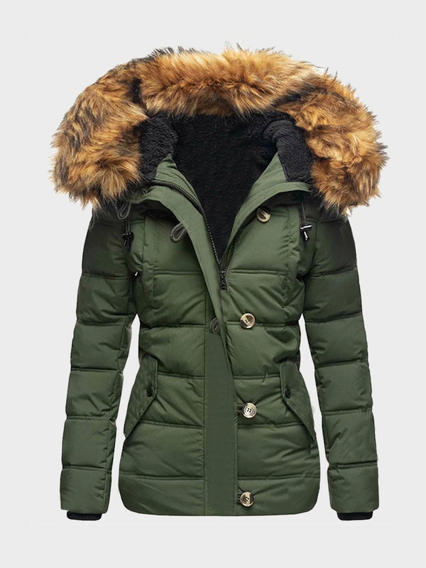 Women Solid Color Hooded Winter Parka Coat