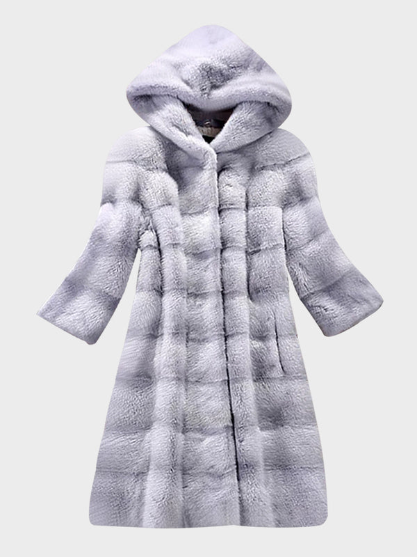 Women Faux Fur Solid Color Winter Parka Coat