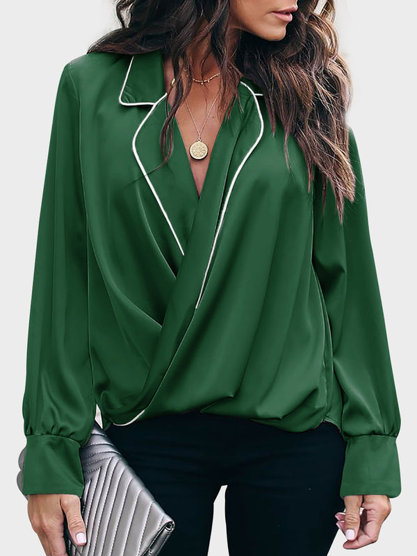 Women's Pullover V-neck Shirt Long Sleeve Top