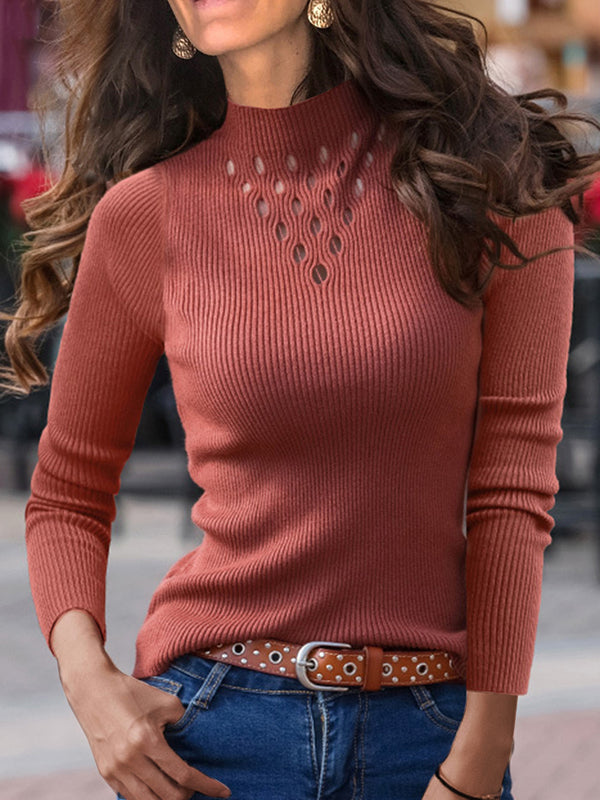 Hollow Slim-fit Pure Color Long Sleeve Sweater