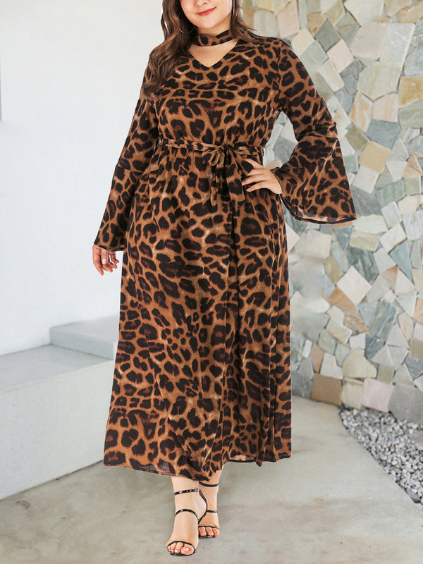 Plus Size Flare Long Sleeve Leopard Lace-up Maxi Dress
