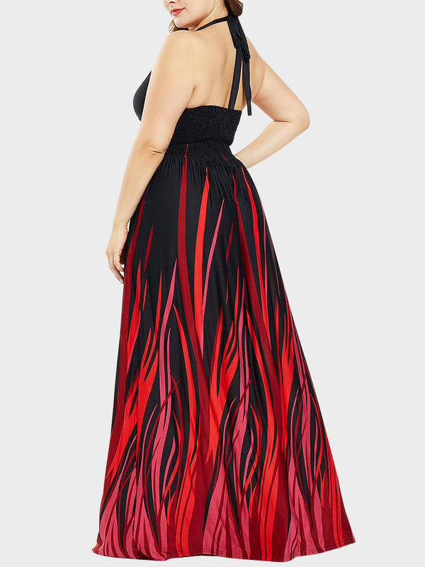 Bohemian Viscose Plus Size Sexy Halter Maxi Ball Dress