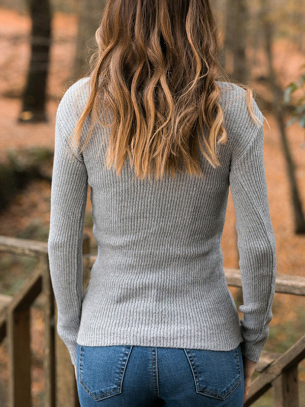 Turtleneck Long Sleeve Stretchy Sweater