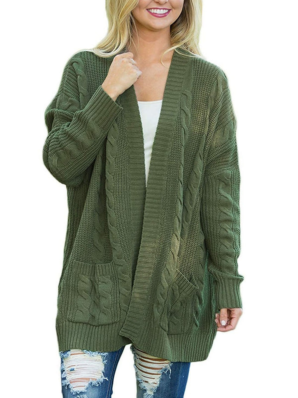 Open Front Solid Color Long Sleeve Knit Cardigan