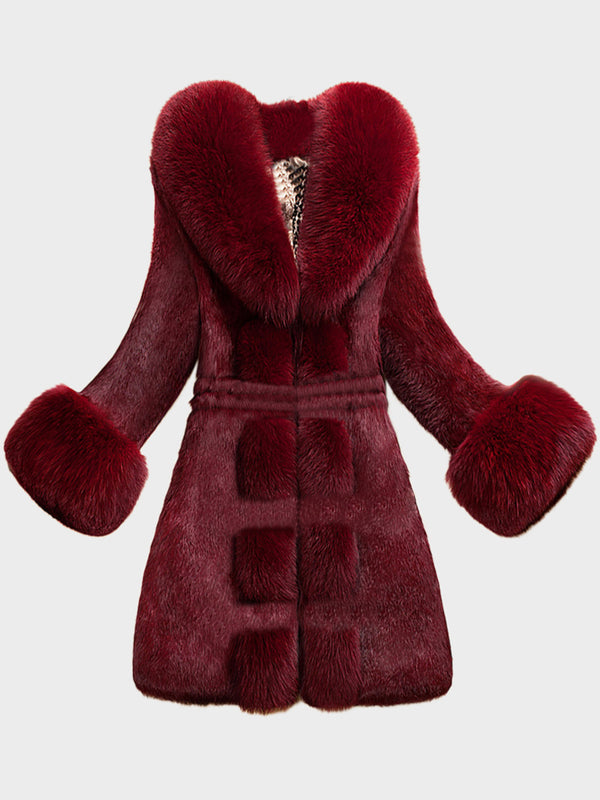 Womens Faux Fur Long Sleeve Slim Winter Coat