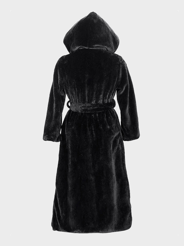 Black Lace-up Faux Fur Hooded Winter Long Coat