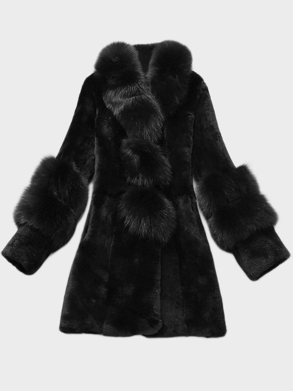 Fur Neck Faux Fur Women Winter Coat