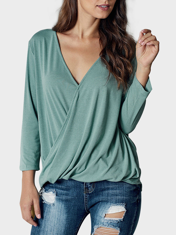 Spring Women's Solid Color V-neck 3 / 4 Sleeve T-shirt