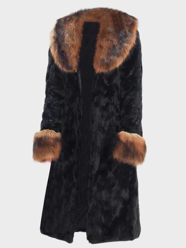 Women Faux Fur Black Long Winter Coat