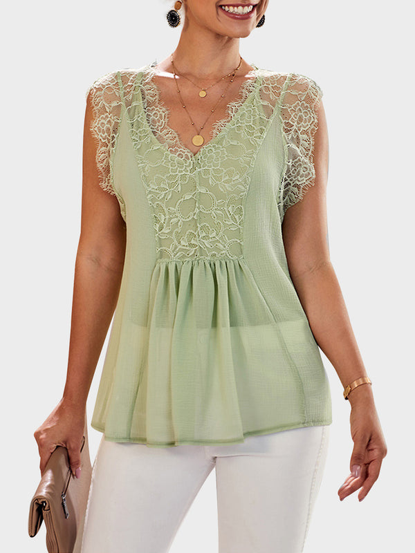 Summer Lace Panel Sexy V-neck Loose Top
