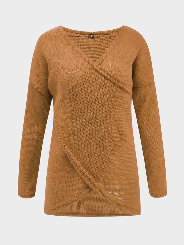 Women Deep V Neck Solid Color Knitted Pullover
