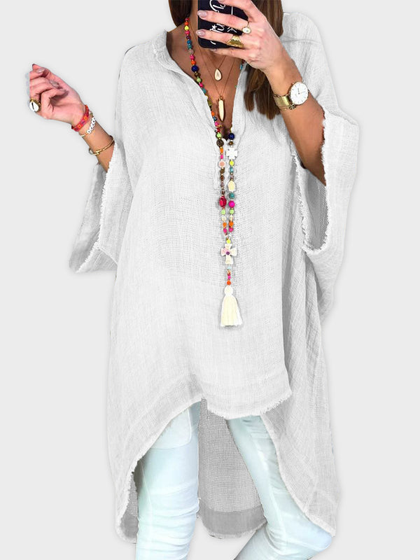 Cotton Linen Half Sleeve Casual Solid Long Blouse