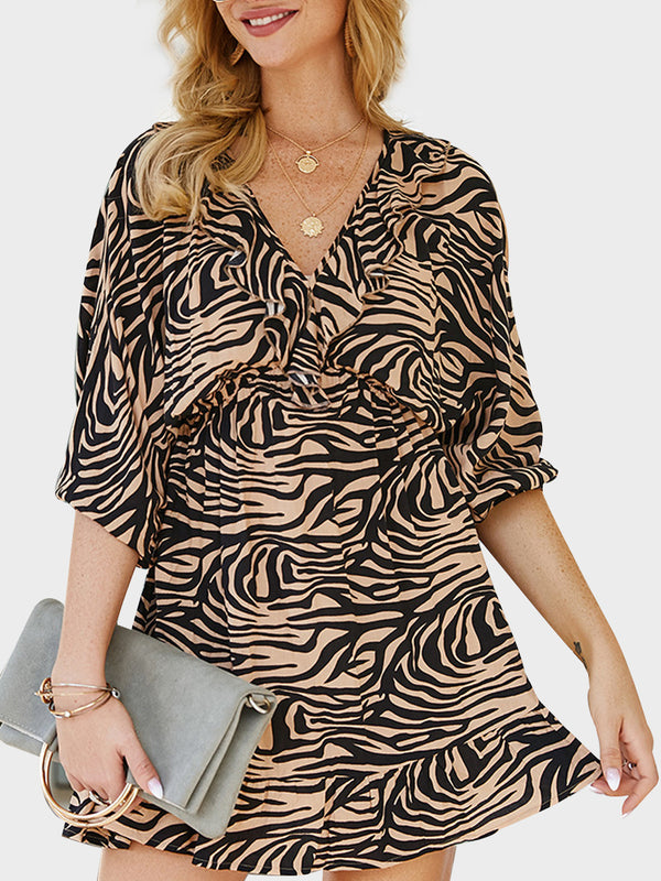 Spring Women Leopard V-neck Half Sleeve Dress