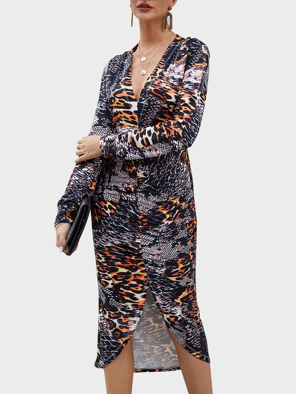 Leopard Print Long Sleeve Casual Midi Dress