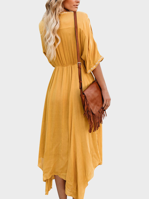 Bohemian Embroidered Pleated Slim Maxi Dress
