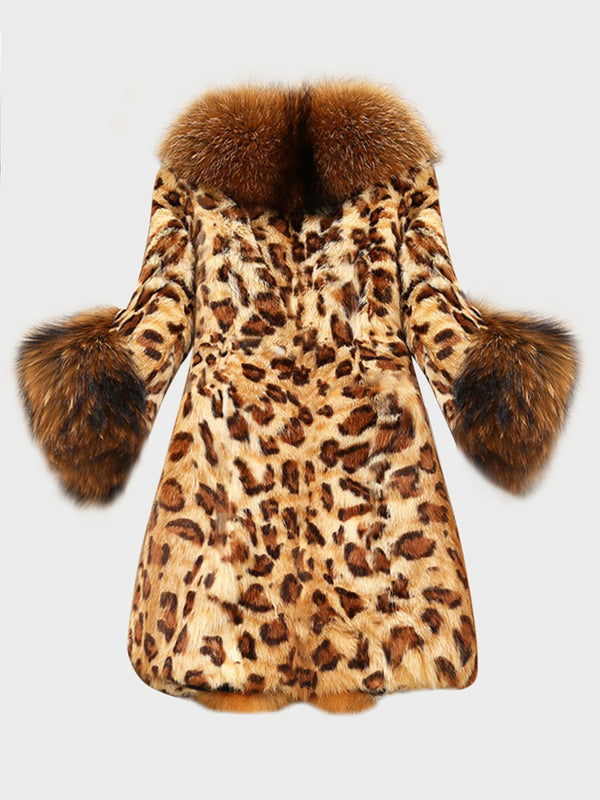 Plus Size Leopard Faux Fur Fuzzy Winter Coat