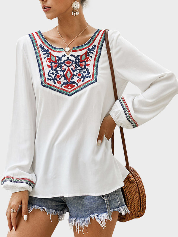 Spring Long Sleeve National Style T-Shirt Top