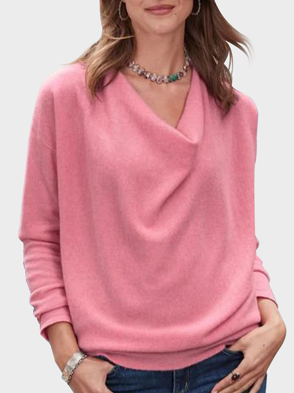 Irregular Neckline Solid Color Long Sleeve T-shirt
