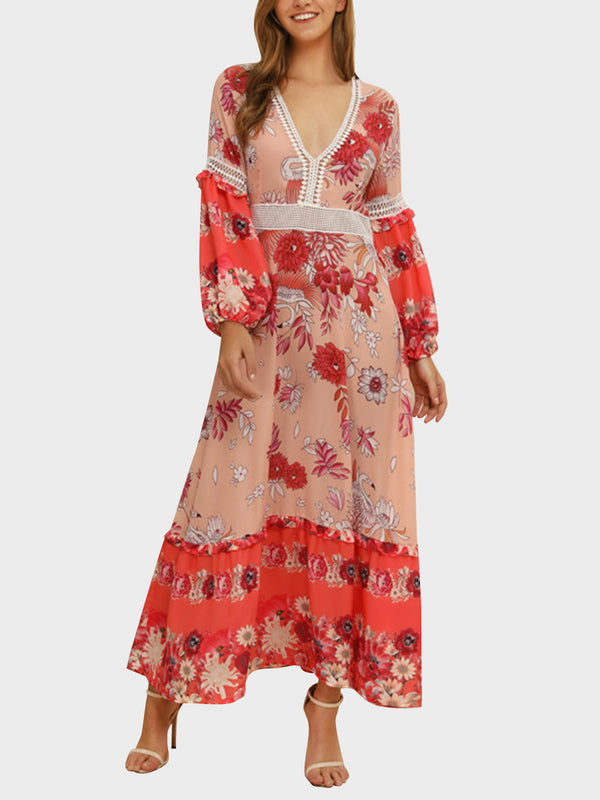 Bohemian V Neck Stitching Long Sleeve Maxi Dress