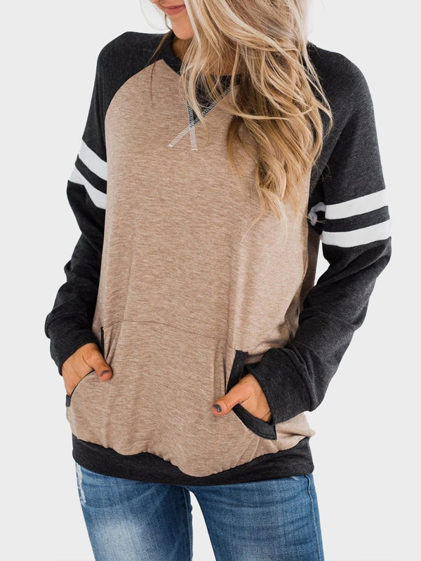 New Color Matching Long Sleeve Pullover T-shirt