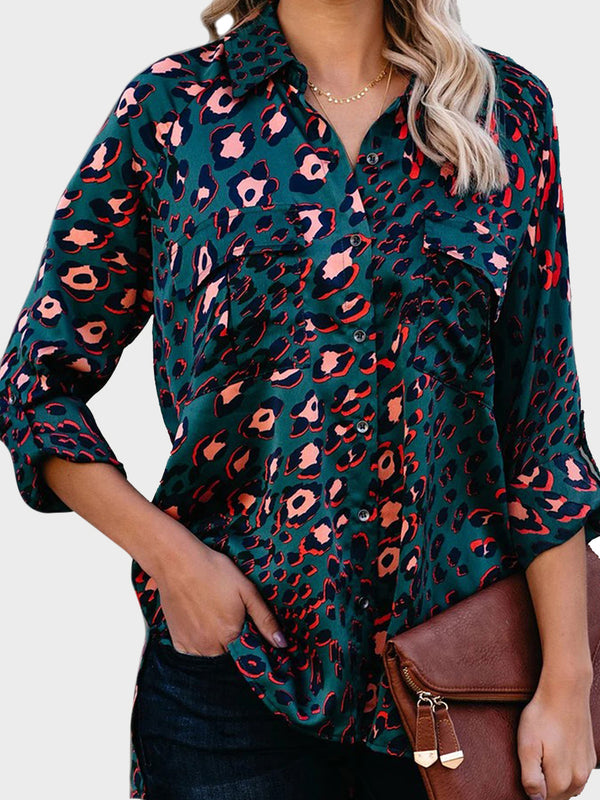 Single Breasted Leopard Print Casual Blouse