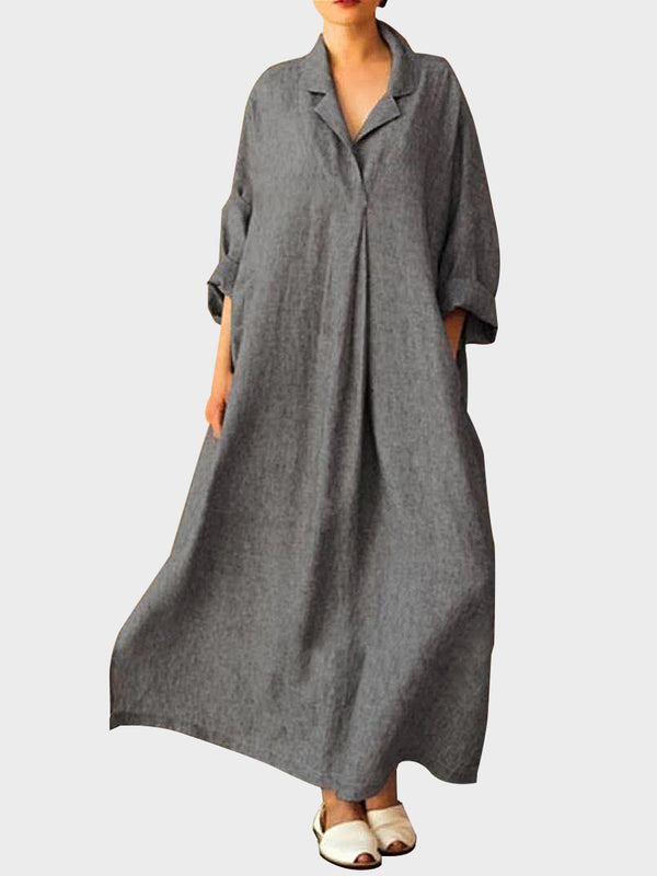 Solid Color Bat Sleeve Shirt Maxi Dress