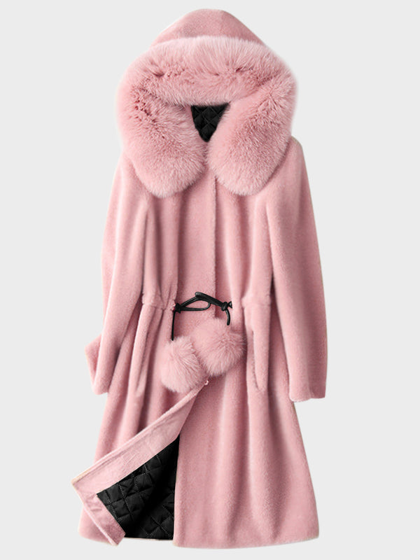 Drawstring Waisted Faux Fur Hooded Winter Coat