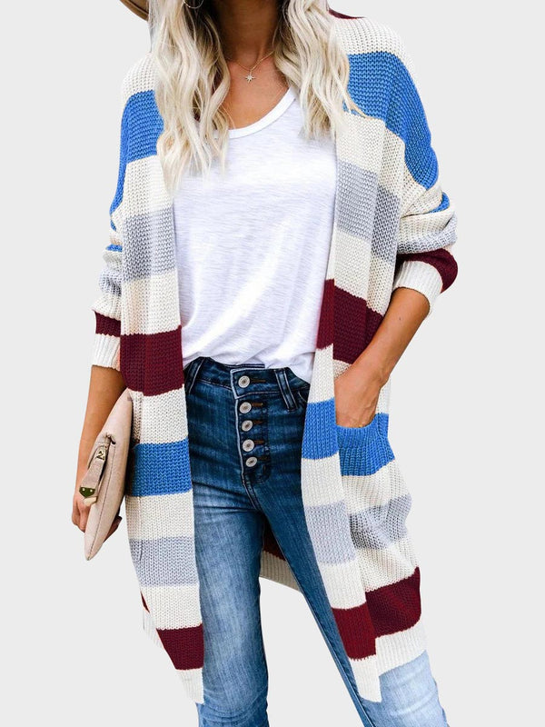 Open Front Plus Size Striped Knit Long Cardigan