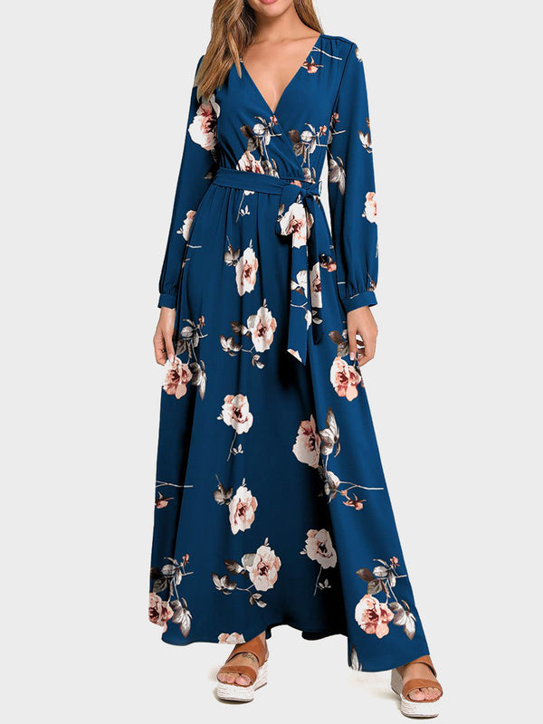 V Neck Floral Print Lace-up Long Sleeve Maxi Dress