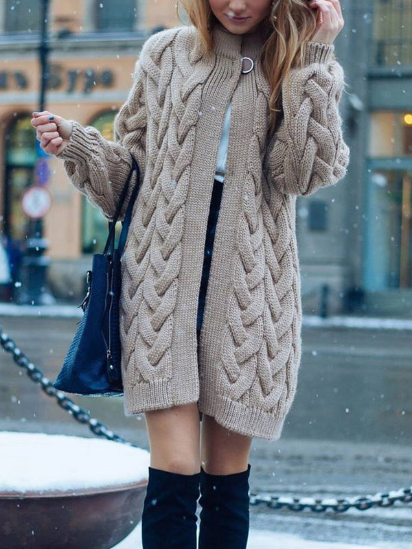 Solid Color Cable Chunky Knit Sweater Cardigan