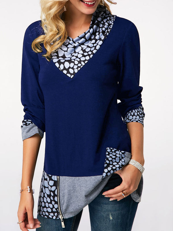 Color Block Pocket Long Sleeve T-shirt