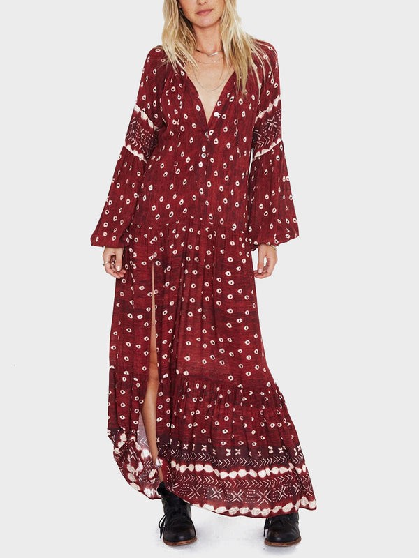 Bohemian V Neck Print High-split Long Sleeve Maxi Dress