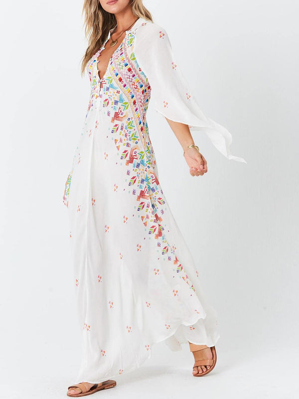 Bohemian Deep V Neck White Holiday Maxi Dress