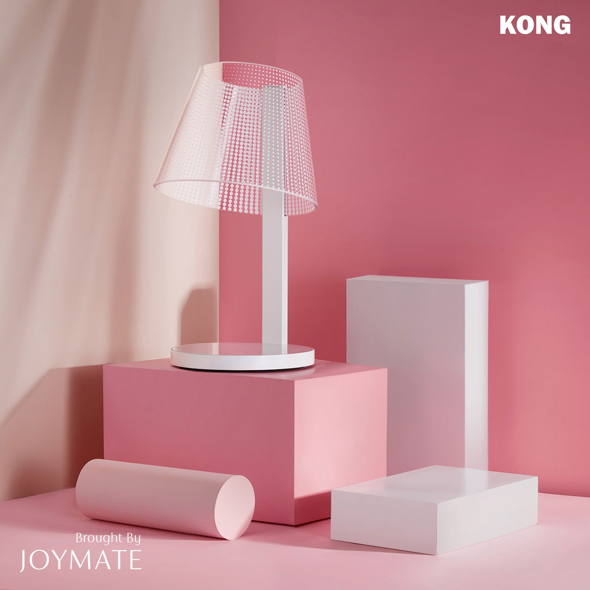 KONG - Dimmable No Bulb LED Table Lamp Wireless Charger (White)