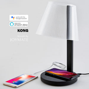 KONG - Dimmable No Bulb LED Table Lamp Wireless Charger with Voice Control (Black)